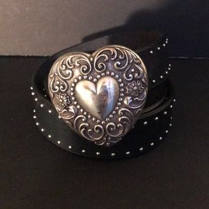 Black leather belt with silver heart buckle